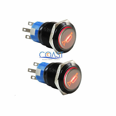 2X Durable 12V Red LED 19mm Momentary Car Horn Push Button Toggle Light Switch