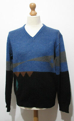 """Vintage Mens 80s Blue Geometric Knit Jumper LARGE 44"""" (42-44) made in Italy"""