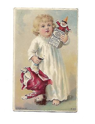 Vintage Pearline Soap Trade Card James Pyle Little Girl Carrying Dolls Box