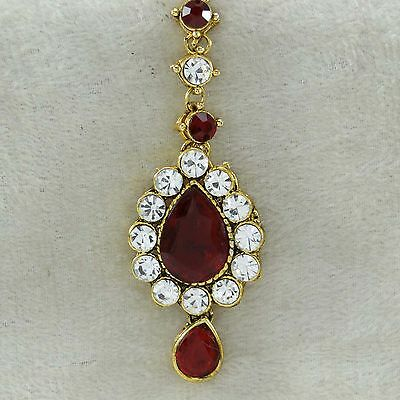 Traditional Bollywood Goldtone Forehead Maang Tikka Indian Accessory Jewelry