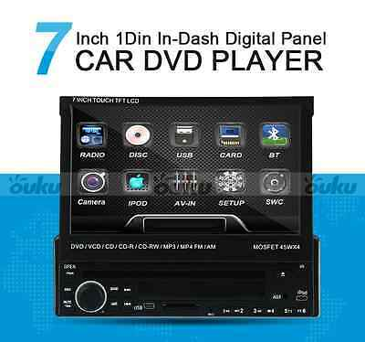 "7"" Single 1 Din Car CD DVD Player In Dash Stereo LCD Touch Screen Blutooth Radio"