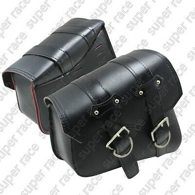 Motorcycle Black PU Leather Side Bag Saddle Bags For Harley Sportster XL883 1200