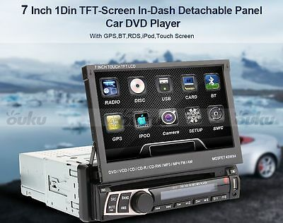 "7"" Touch Screen Single 1 Din dash Car Stereo Radio BT GPS SAT NAVI CD/DVD Player"