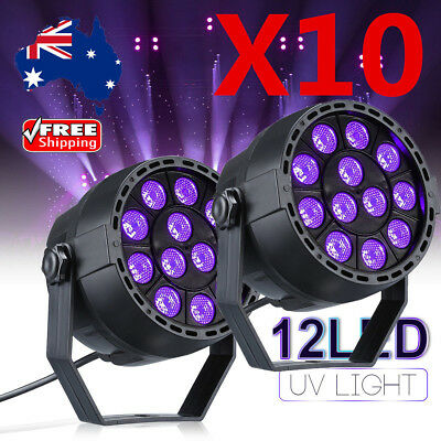 10Pcs Flat Par Led RGB Stage Light 8CH DMX Laser Projector DJ Disco Sound Active