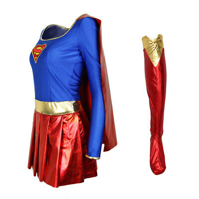 Adult Women Supergirl Superhero Costume Comic Party Halloween Outfit Fancy Dress