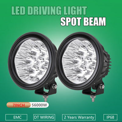 PAIR 7INCH ROUND 840W CREE LED WORK SPOT OFFROAD DRIVING LIGHTS BLACK 4WD 320w