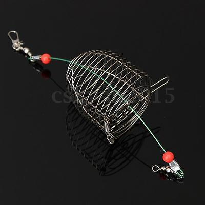 5PCS Stainless Wire Trap Fishing Fish Cast Cage Baskets Bait Lure Feeder Catch