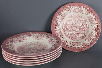 Lot de 6 assiettes creuses Staffordshire rouge  blanc