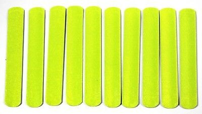 Ten High Visiblity Reflective Slap Snap Bands Fluorescent Safety Straps One Size