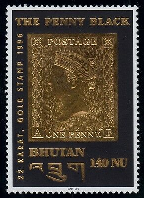 001 - Timbre OR 22 carats - BHOUTAN - The Penny Black 1996
