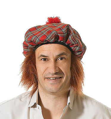 Mens Scottish Scots Tartan Hat with Ginger Hair Fancy Dress Accessory BH124