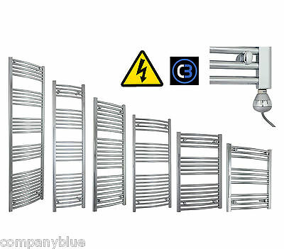 600mm Wide Chrome Electric Heated Towel Rail Radiator Prefilled Thermostatic