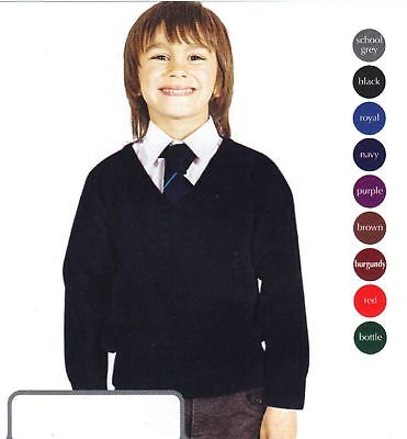 Boys School Uniform Boy Unisex Premium Wool Mix Knitted V Neck Jumper