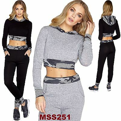 Ladies New Style Camouflage Trim Two Piece Hooded Crop Top Lounge Suit Tracksuit