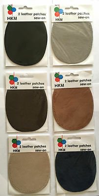HKM Leather Elbow Patches x2 Oval - Knee Patch Washable - Sew On - 4 Colours