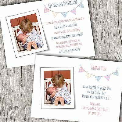 Personalised Photo Christening Invitations OR Thank You Cards ~ Girl/Boy ~ Twins