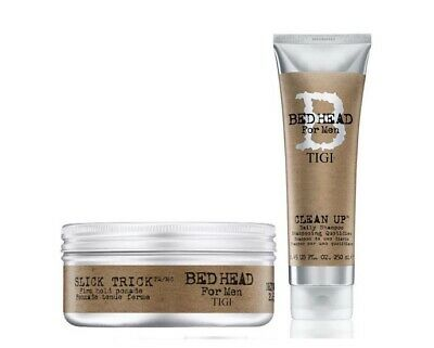 Tigi Bed Head For Men Slick Trick Pomade and Clean Up Daily Shampoo 250ml Duo