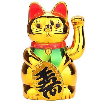 """Chinese Feng Shui Beckoning Cat Wealth Lucky Waving Moving Arm 5"""" Tall Golden"""