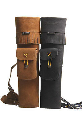 Archery Three-points Brown LEATHER ARROW QUIVER ARCHERY GOODS Fine Leather 21''