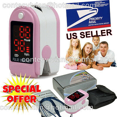 USA Seller, Finger Tip Pulse Oximeter blood Oxygen level SpO2 test monitor,PINK