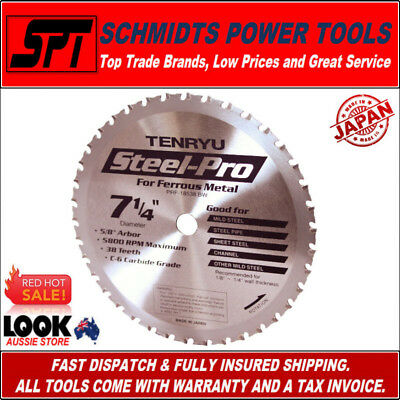 "TENRYU 38T 7-1/4"" 185mm METAL CUTTING CIRCULAR SAW BLADE STEEL PRO PRF-18538BW"