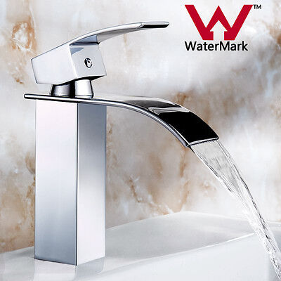 Polished Chrome Brass Waterfall Basin Faucet Vanity Sink Mixer Tap Single Handle