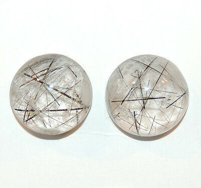 Black Rutilated Quartz Cabochons 16mm with 8mm dome Set of 2 (10231)