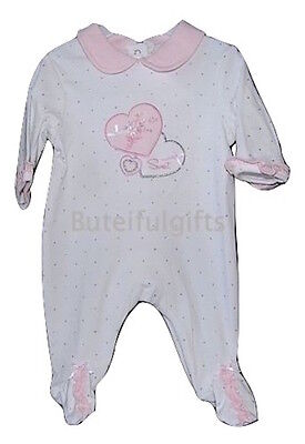 Baby Girl's White/Pink Heart Cotton All in One Sleepsuit 3-6 Month LAST ONE