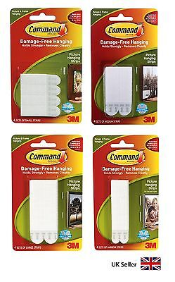 12 x 3M Command Strips Small Medium Large Damage Free Poster Picture Hanging