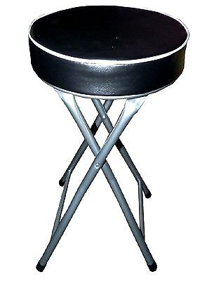 Round Padded Chair Black Lightweight Home Kitchen Folding Stool With Safety Lock