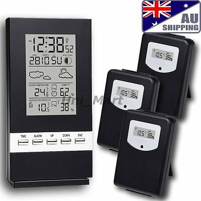 AU Wireless Weather Station Temperature °C °F Humidity 3 Sensors Indoor Outdoor