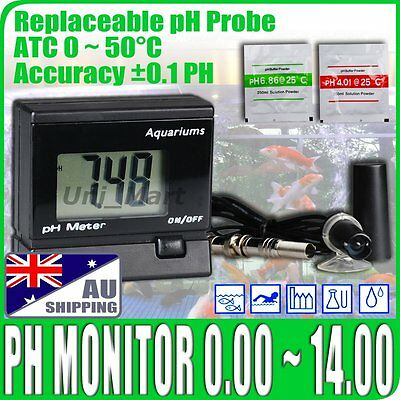 AU Digital pH Meter Water Tester pH Monitor for Aquarium Replaceable BNC Probe
