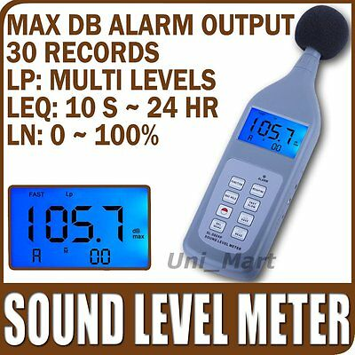 Risepro Sound Pressure Level Meter 30~130 dB Decibel Memory 30 Groups Lp Leq