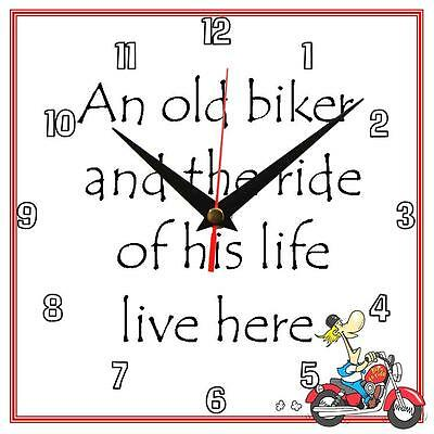 "Handmade ""An old Biker"" novelty fun gift present 8"" / 195mm wall clock"