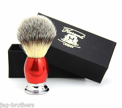 Synthetic Hair Shaving Brush Red & Silver Handle with Classical Box Presant