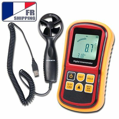 FR Digital Anemometer Air Wind Speed Meter Thermometer 0~45m/s LCD Display