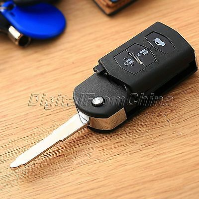 3 Button Remote Folding Flip Key Shell Case Fob Pad for MAZDA 2 3 5 6 RX8 MX5 3B
