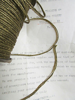 "Vintage Antique French Gold Metallic Soutache Braid Trim 1/8"" Military 3yd"