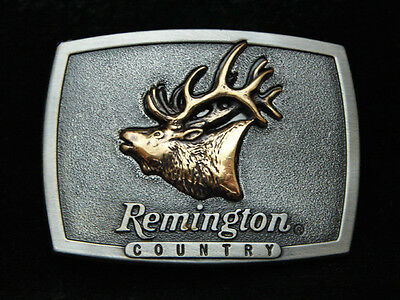 Pb01167 *nos* Vintage 1980 **remington First In The Field Bugling Elk** Buckle