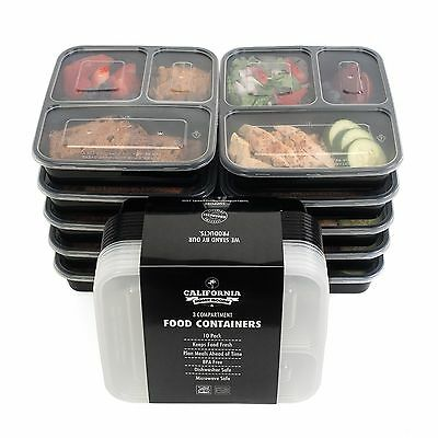 3 Compartment 10pc Plastic Food Container Lunch Tray Stackable Fit Lid Meal Prep