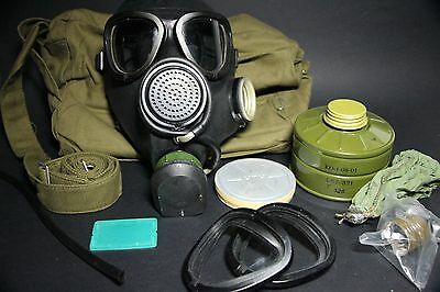 NEW! Russian USSR military black rubber gas mask PMK, GP-7, FULL SET, ALL SIZES
