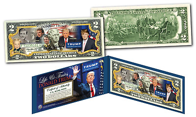 DONALD TRUMP 2016 Presidential  * LIFE & TIMES * Genuine Legal Tender US $2 Bill
