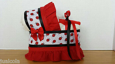 Ladybug Red White Black Diaper Bassinet Carriage Baby Shower Table Decoration
