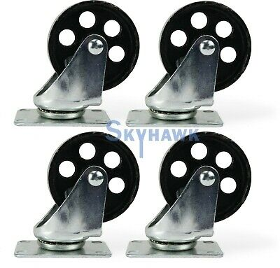 "4-Pc. 3-1/2"" 350-lb Capacity All-Steel Wide Wheel Swivel Top Plate Casters"