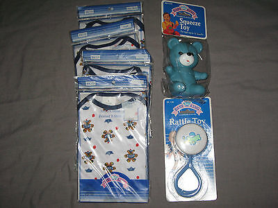 Baby Rattle Airplane Squeeze Toy Printed T Shirt Teddy Bears Blue NEW!