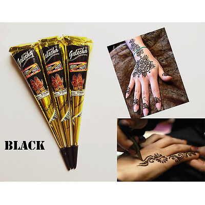 Cool 1*25g Black Natural Herbal Henna Cones Temporary Tattoo Body Art Paint Ink