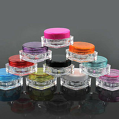 10Pcs Clear Plastic Sample Lip Balm Container 5g Mini Bottle Pot Jars Cosmetic Z
