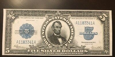 Reproduction Porthole Note $5 1923 Silver Certificate Abraham Lincoln Silver