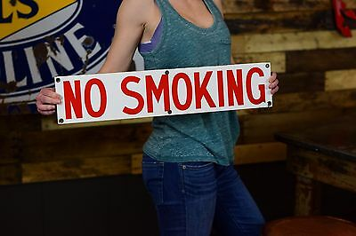PORCELAIN NO SMOKING SIGN OIL GAS STATION clean Factory Salvage sign