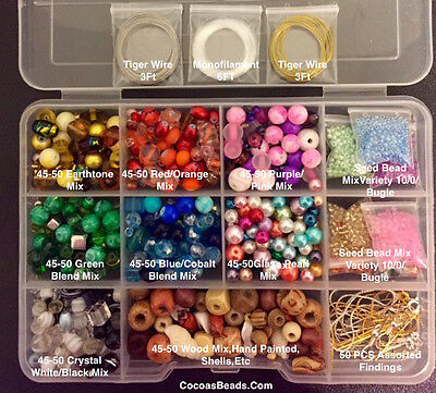 Variety Jewelry Making Supplies Beads,Starter Kit,Crystals, Shells,Wood,Silver